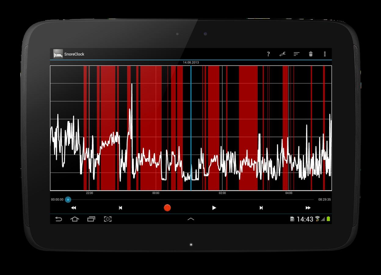 Screenshot von SnoreClock - Schnarchst Du?: Schlaf-Analyse per Gratis-Android-App
