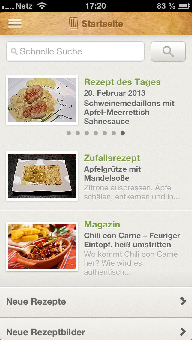 chefkoch rezepte backen kochen einkaufsliste und kochbuch iphone ipad app chip. Black Bedroom Furniture Sets. Home Design Ideas
